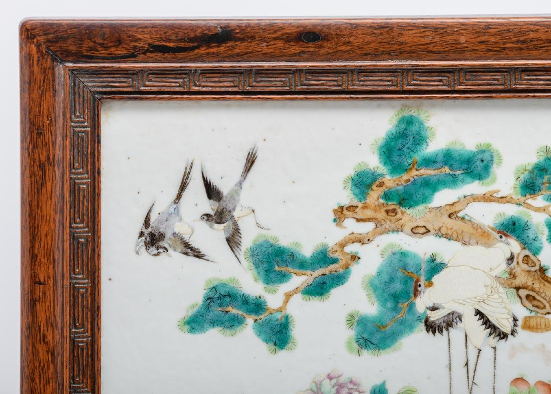 A fine Chinese hardwood table screen, the famille rose - 10