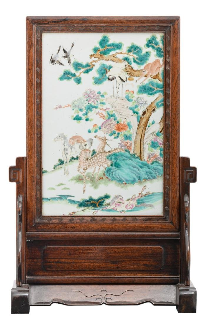 A fine Chinese hardwood table screen, the famille rose