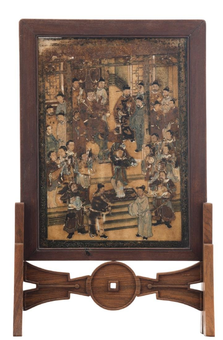 A Chinese wooden table screen, the stone panel