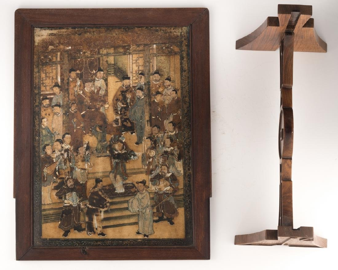 A Chinese wooden table screen, the stone panel - 5