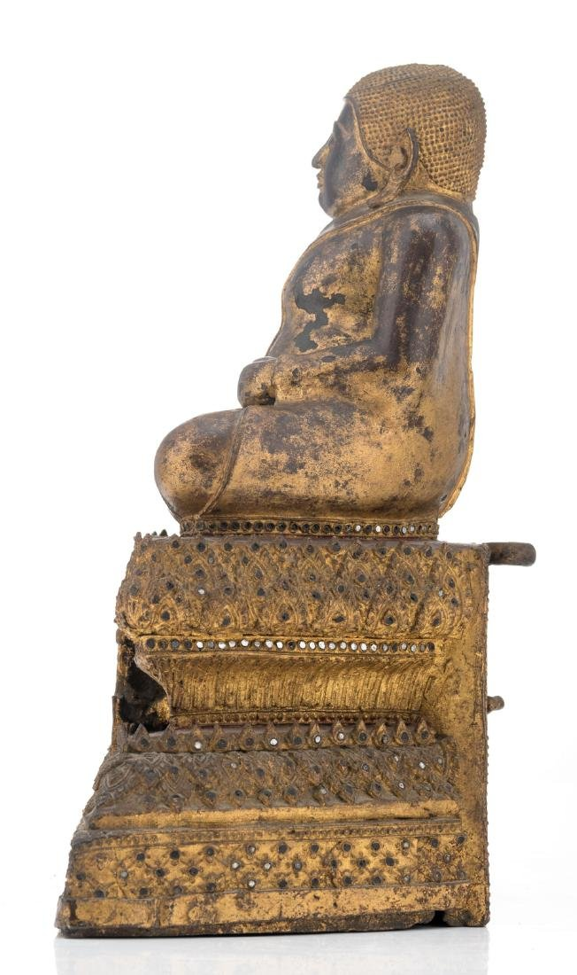 A Thai gilt and polychrome lacquered bronze seated - 2