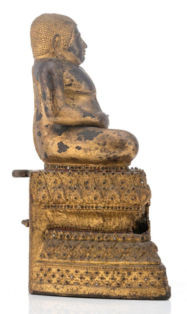 A Thai gilt and polychrome lacquered bronze seated - 4
