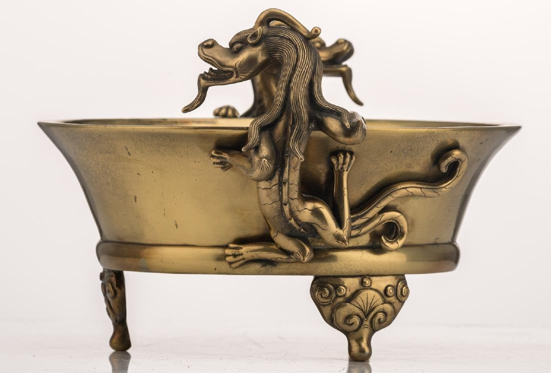 A Chinese tripod bronze incense burner, the handles - 5