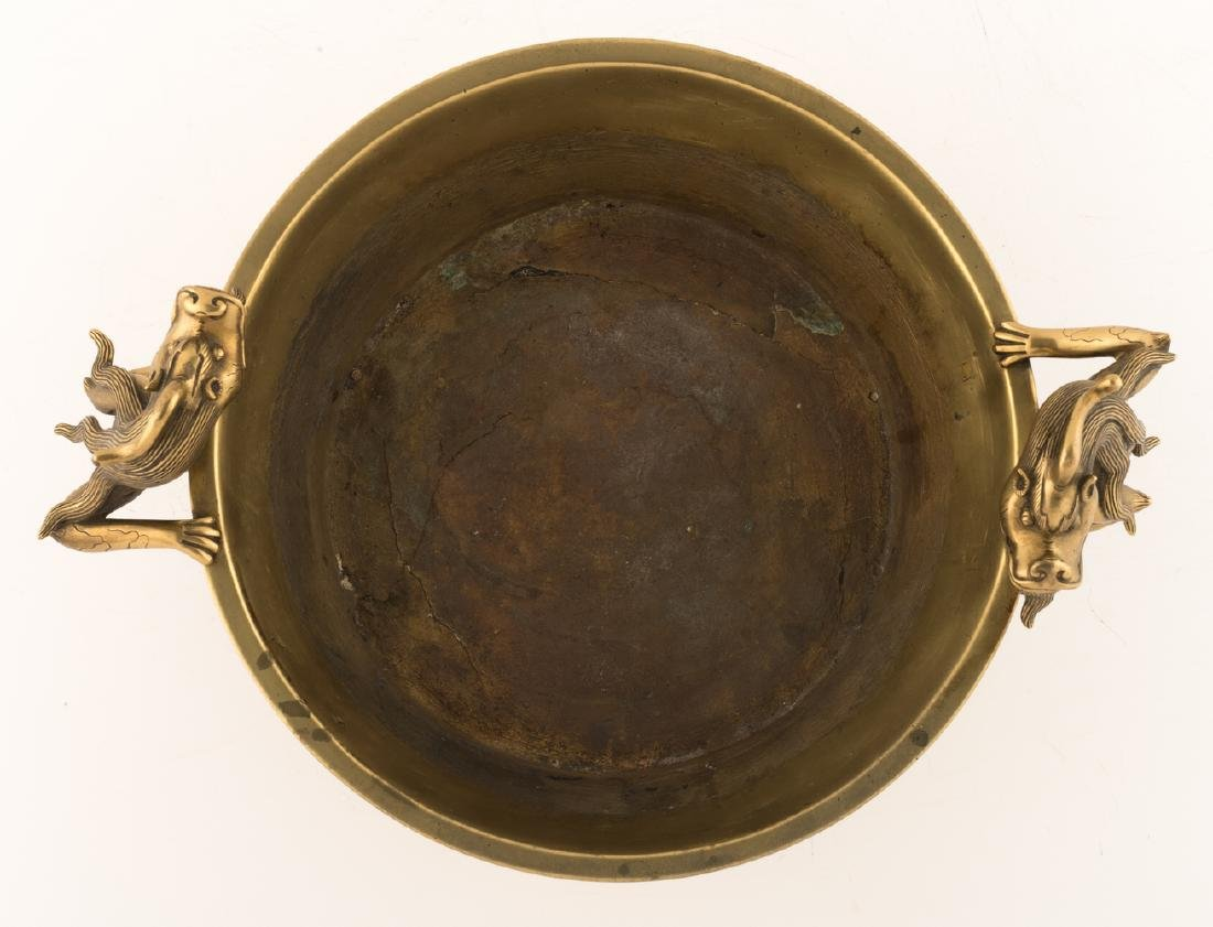 A Chinese tripod bronze incense burner, the handles - 6