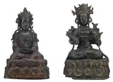 Two Chinese patinated bronze figures depicting seated