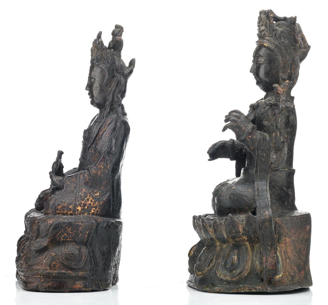 Two Chinese patinated bronze figures, depicting seated - 2
