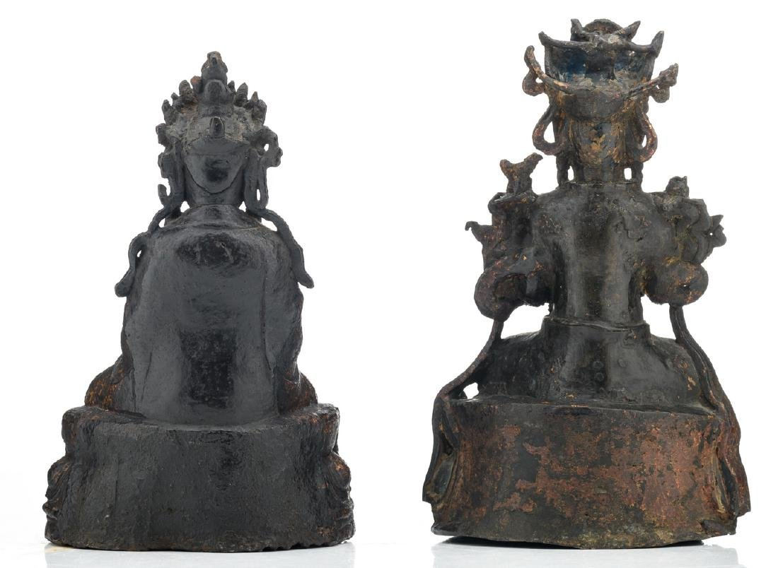 Two Chinese patinated bronze figures, depicting seated - 3