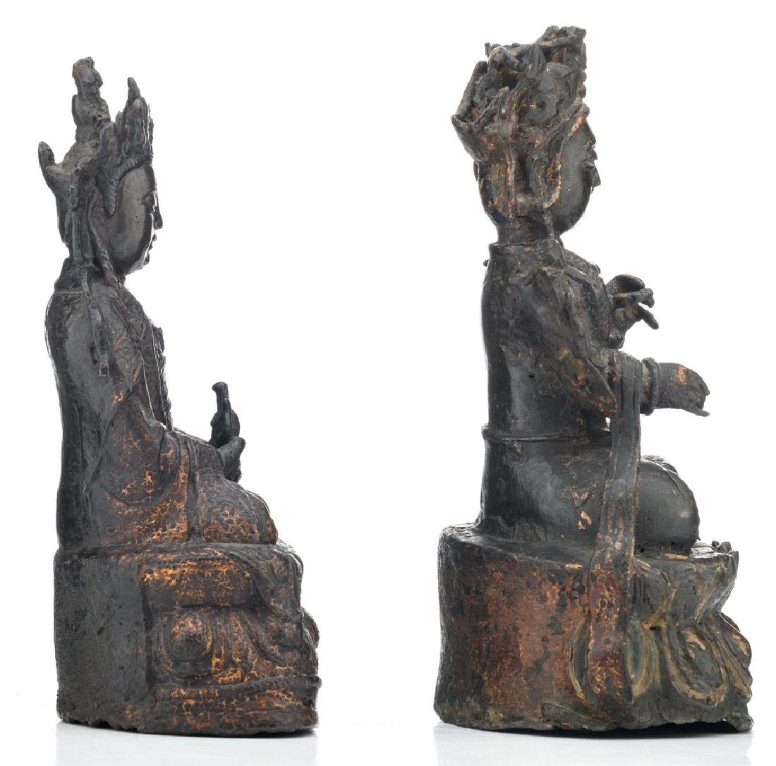 Two Chinese patinated bronze figures, depicting seated - 4