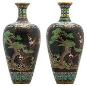 Two imposing Chinese floral and key pattern cloisonne