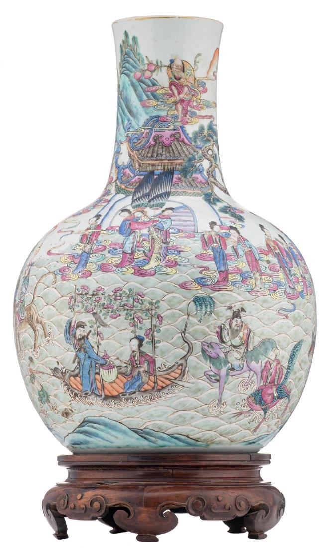 A Chinese famille rose bottle vase, decorated with