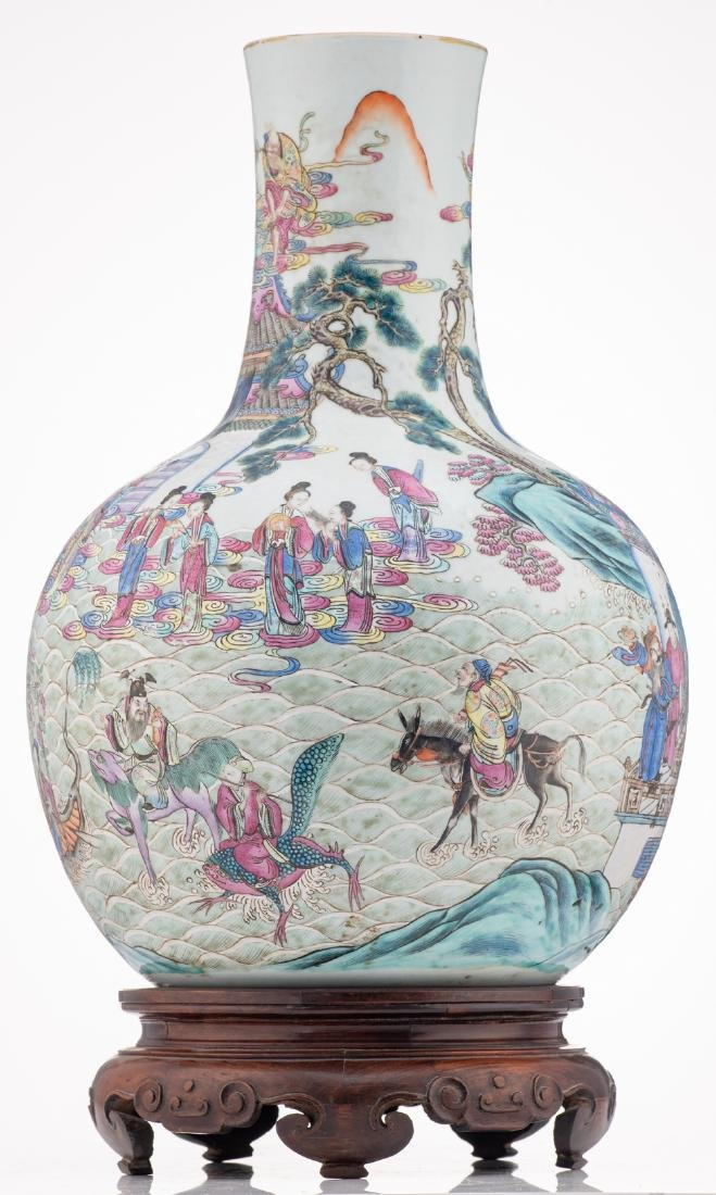 A Chinese famille rose bottle vase, decorated with - 2