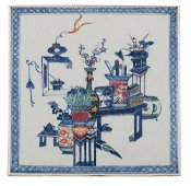A rare Chinese blue and white and polychrome decorated