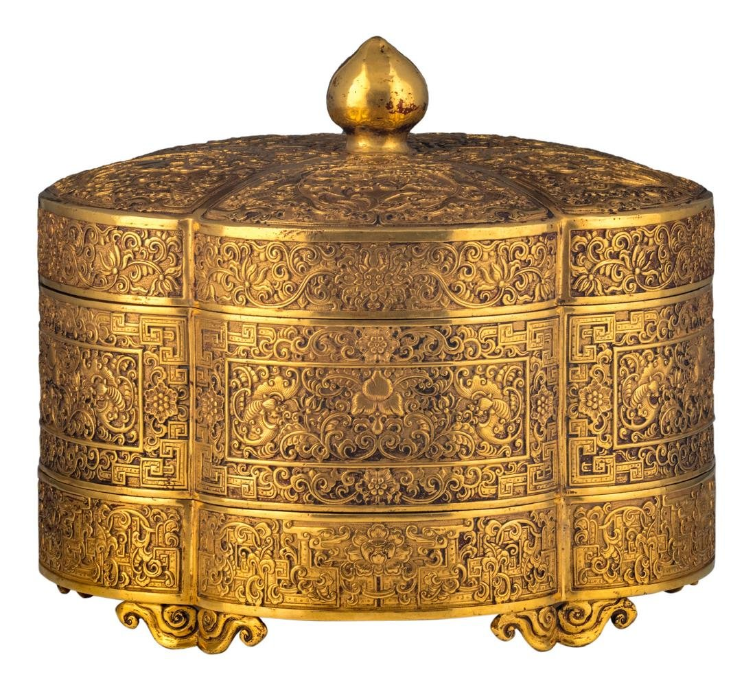 A fine Chinese gilt bronze three-part lobed box with