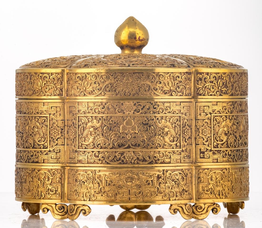 A fine Chinese gilt bronze three-part lobed box with - 2