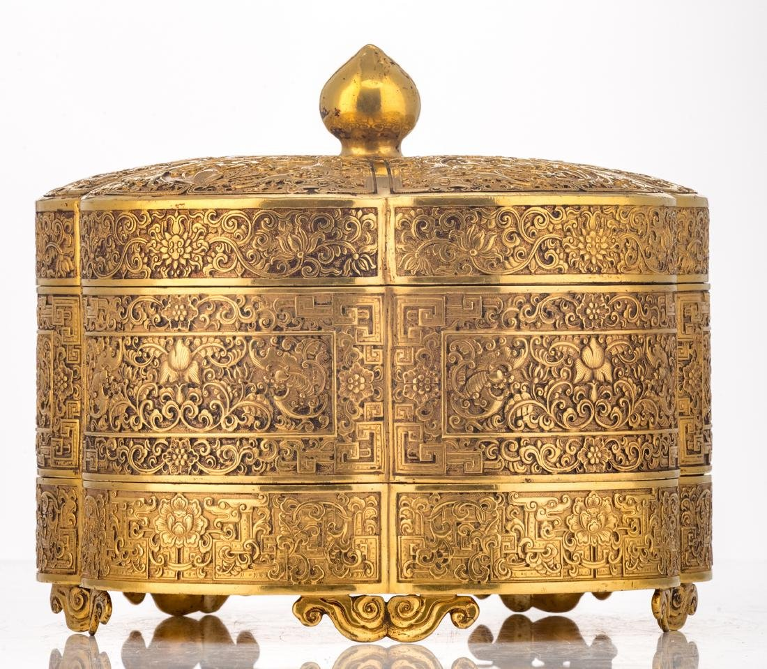 A fine Chinese gilt bronze three-part lobed box with - 3