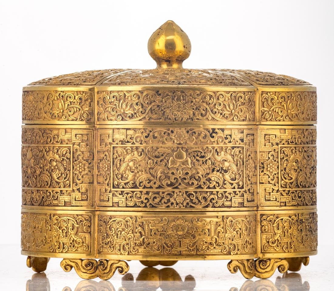 A fine Chinese gilt bronze three-part lobed box with - 4