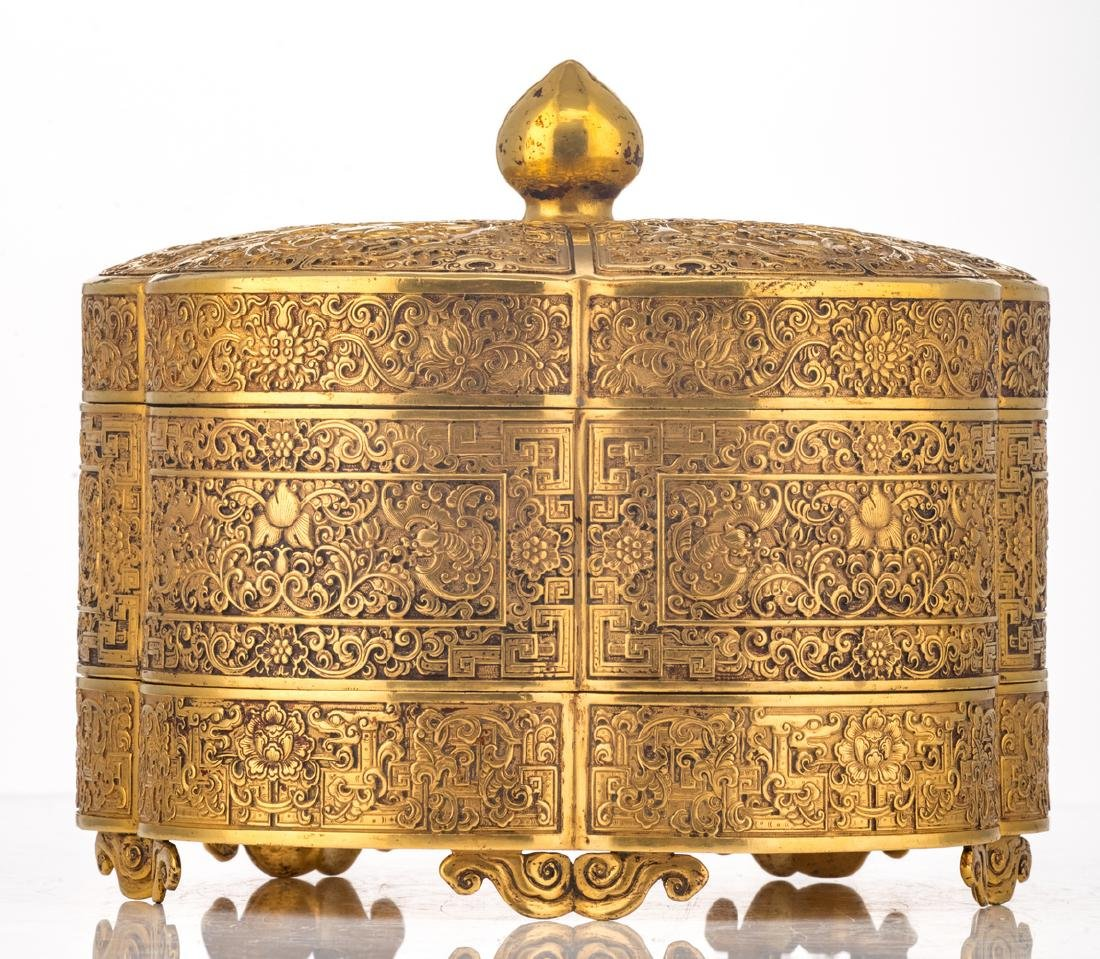 A fine Chinese gilt bronze three-part lobed box with - 5