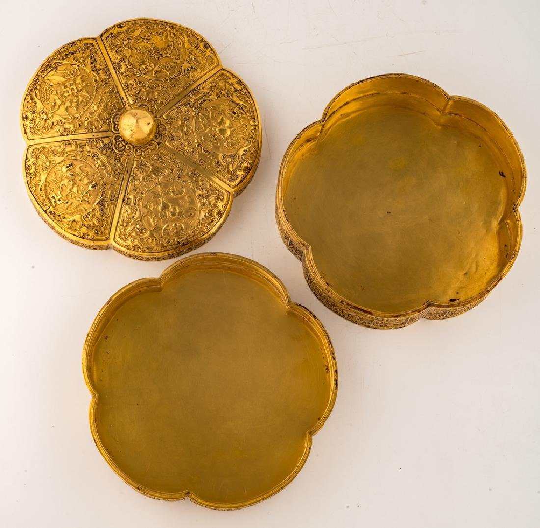 A fine Chinese gilt bronze three-part lobed box with - 7