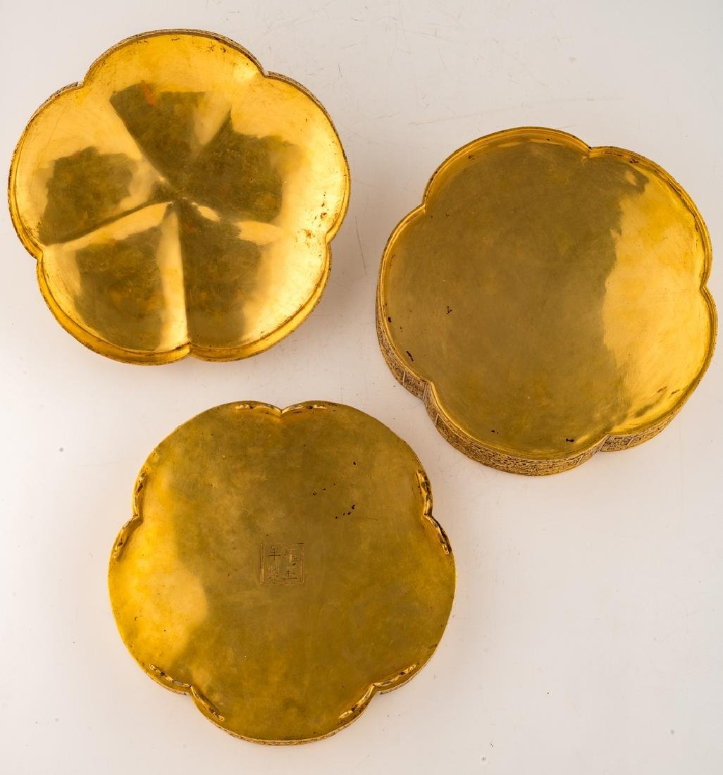 A fine Chinese gilt bronze three-part lobed box with - 8