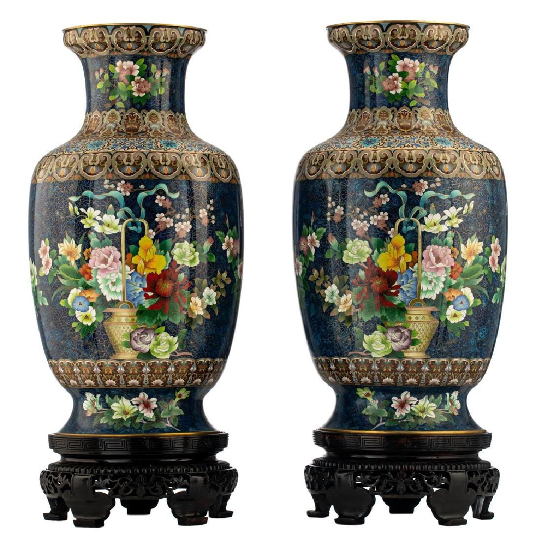 A fine pair of Chinese cloisonne enamel vases,