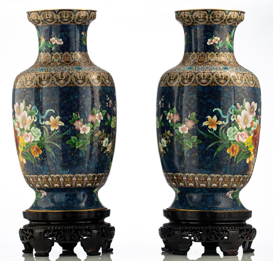 A fine pair of Chinese cloisonne enamel vases, - 2