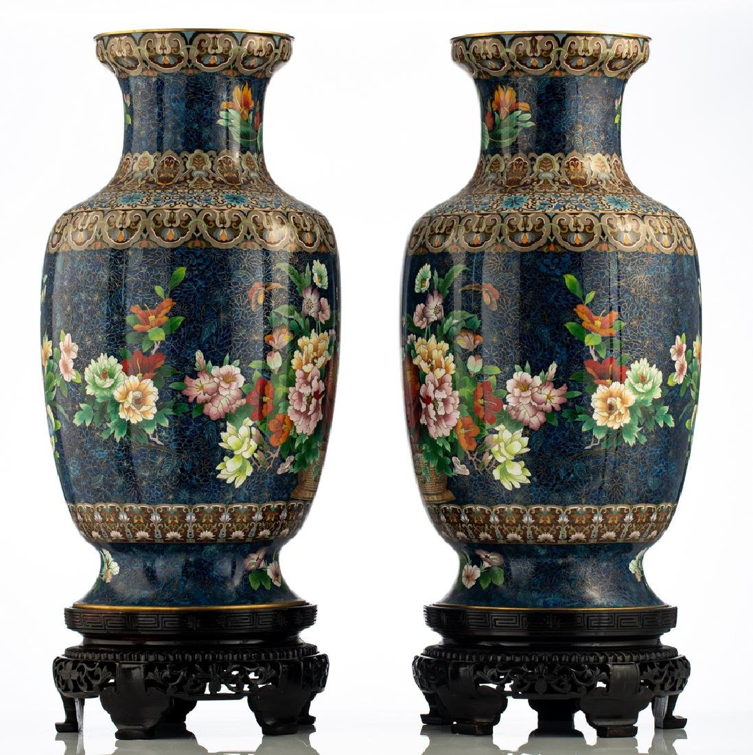 A fine pair of Chinese cloisonne enamel vases, - 4
