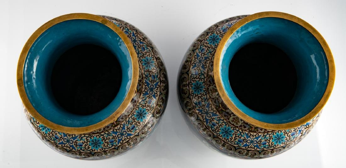 A fine pair of Chinese cloisonne enamel vases, - 5