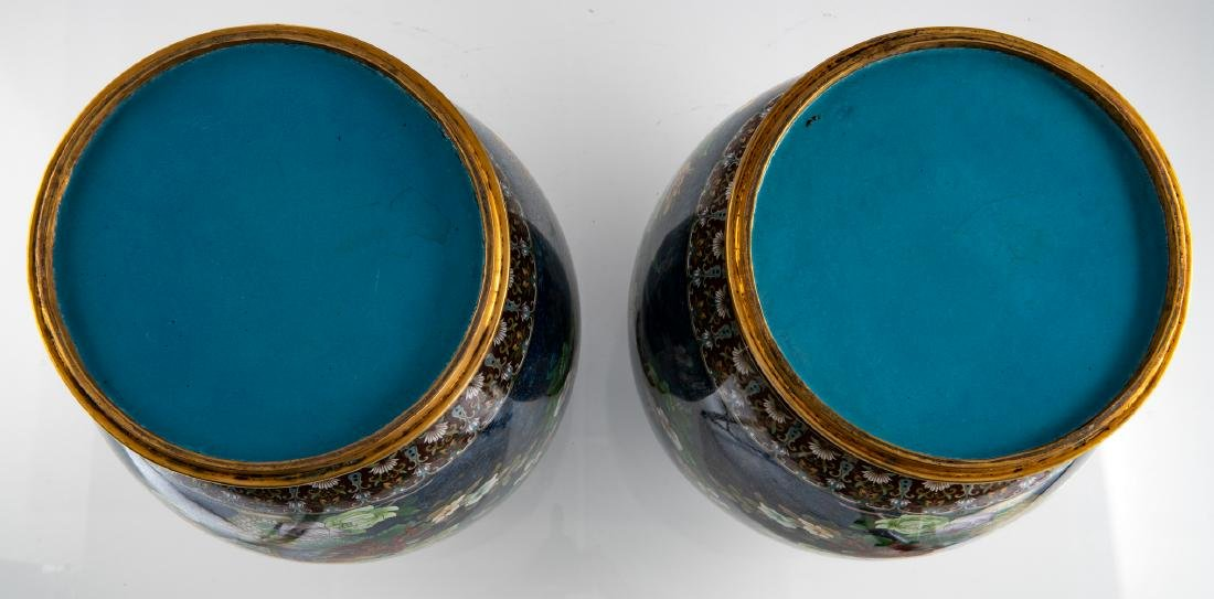 A fine pair of Chinese cloisonne enamel vases, - 6