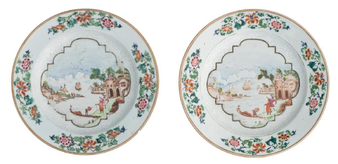 Two Chinese famille rose export porcelain dishes, the