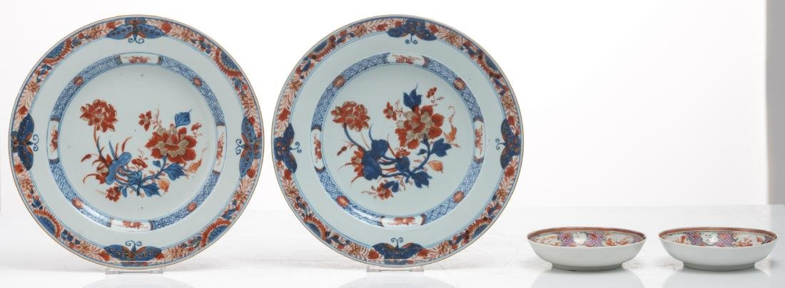 Two Chinese Imari floral decorated dishes, 18thC; added - 3