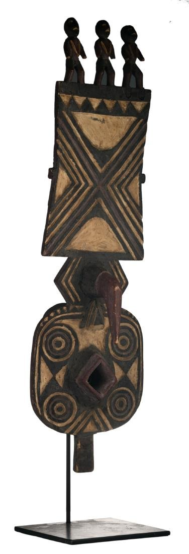 A traditional polychrome decorated African wooden