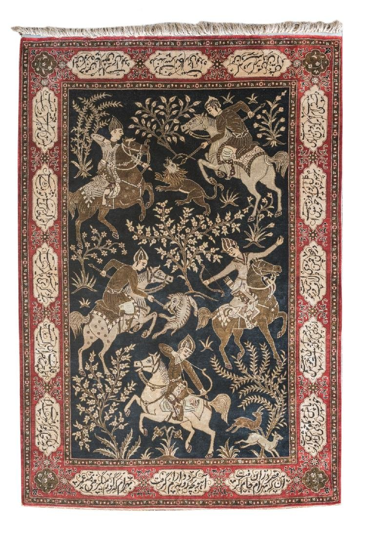 An Oriental silk carpet decorated with a hunting scene,