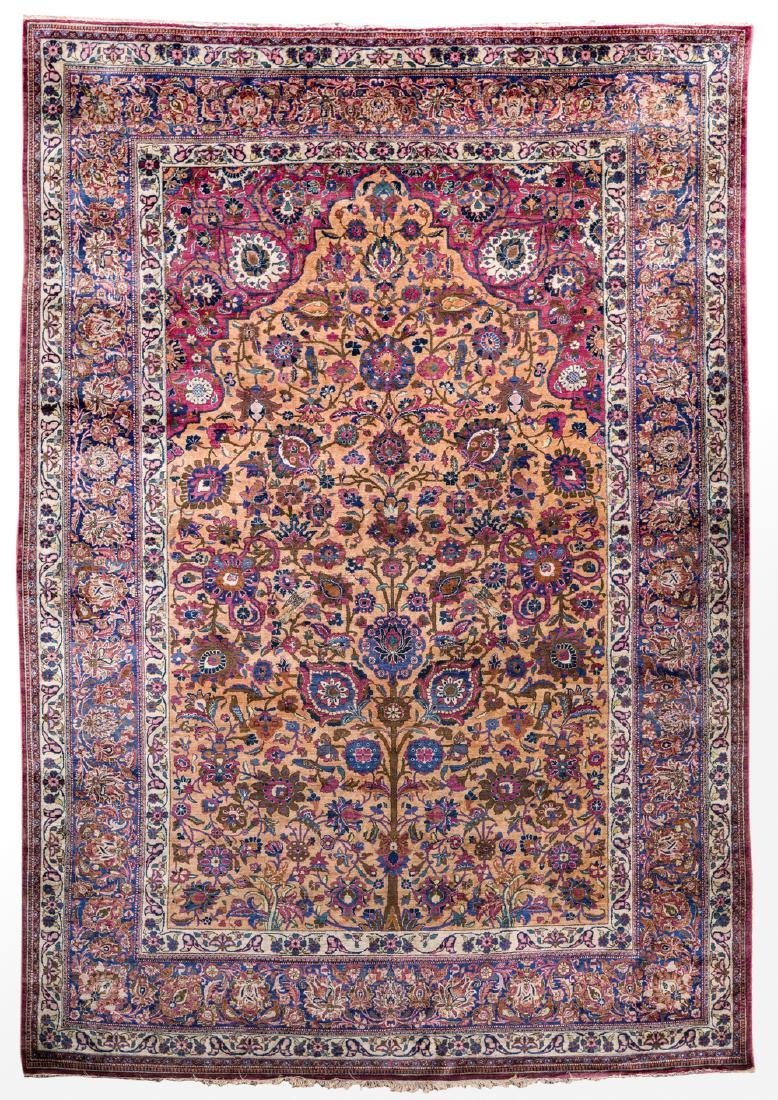 An extremely fine Oriental silk rug, floral decorated,