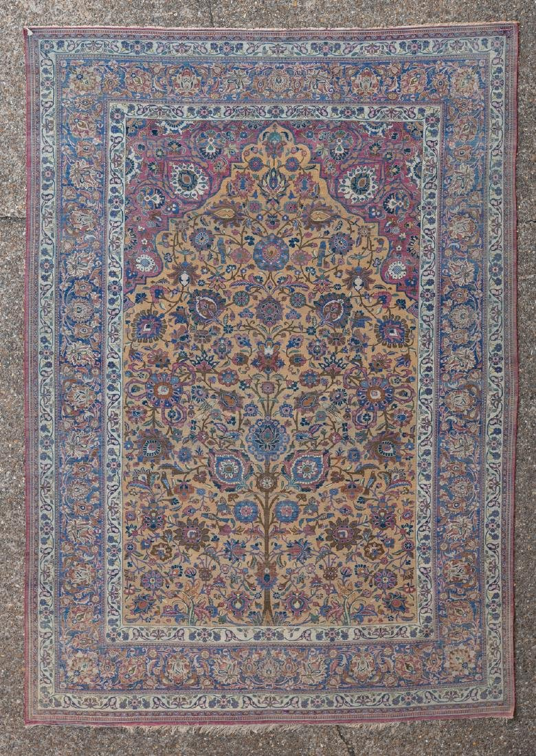 An extremely fine Oriental silk rug, floral decorated, - 2