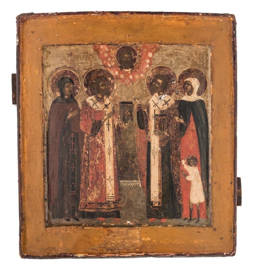 An 18thC East European icon depicting five saints, with