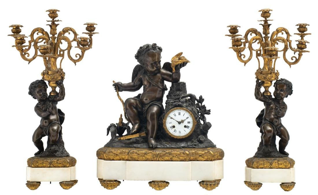 A Neoclassical three-piece patinated and gilt bronze