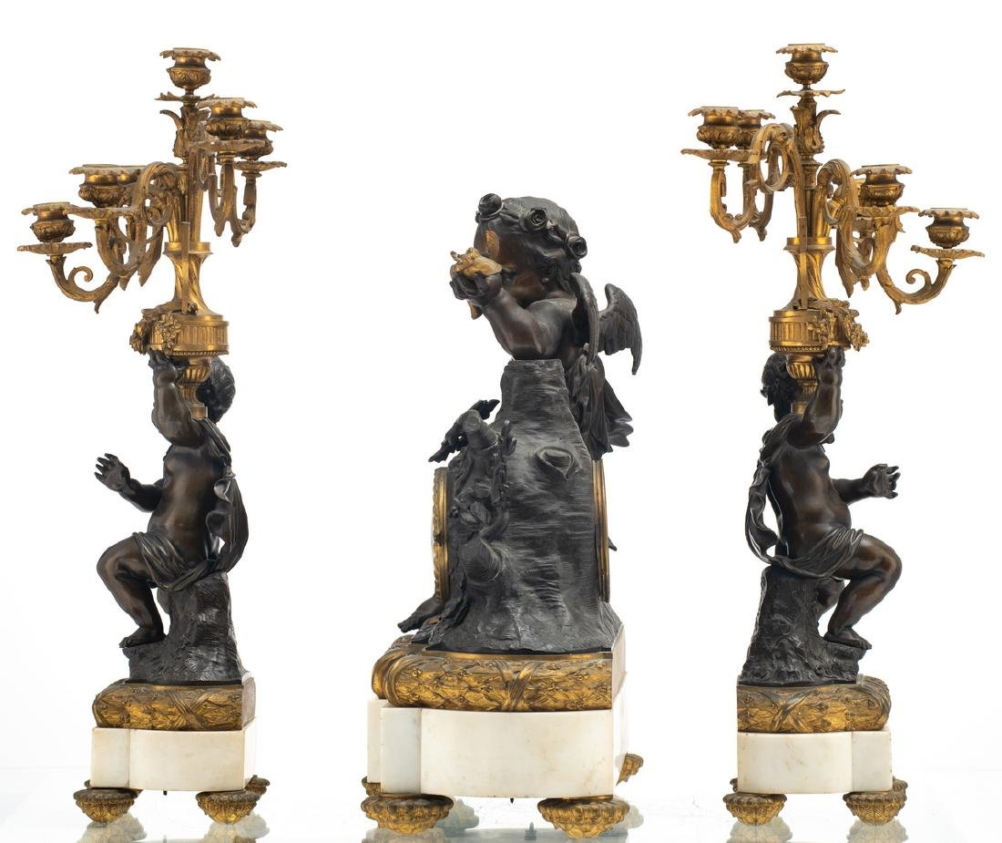 A Neoclassical three-piece patinated and gilt bronze - 2