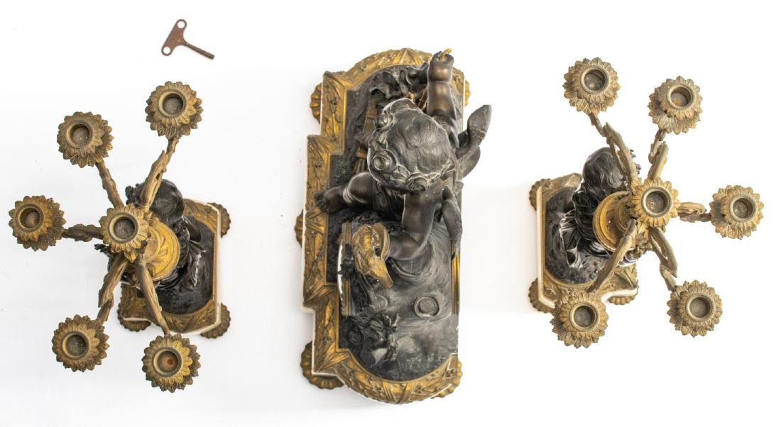 A Neoclassical three-piece patinated and gilt bronze - 6