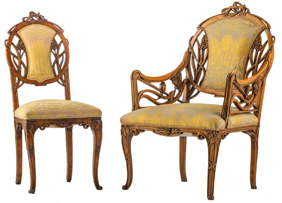An Art Nouveau style walnut chair and armchair, H 93,5