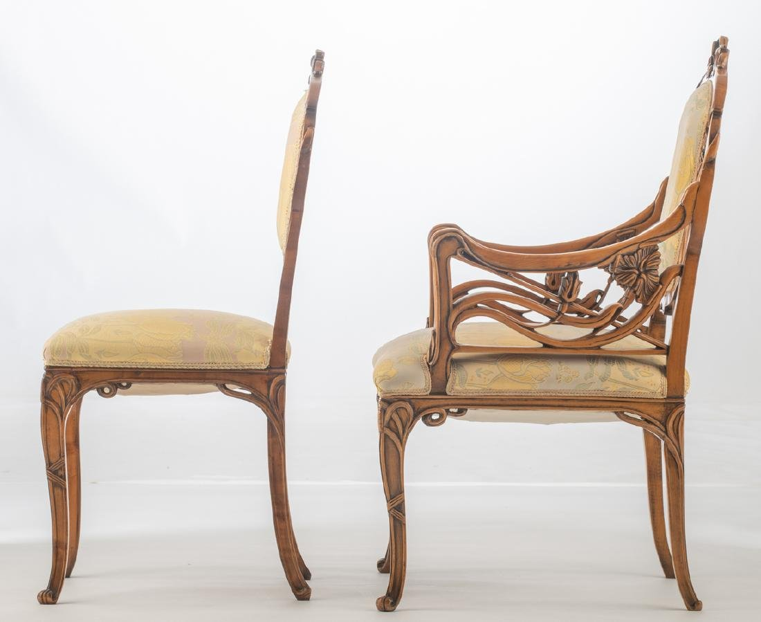 An Art Nouveau style walnut chair and armchair, H 93,5 - 3