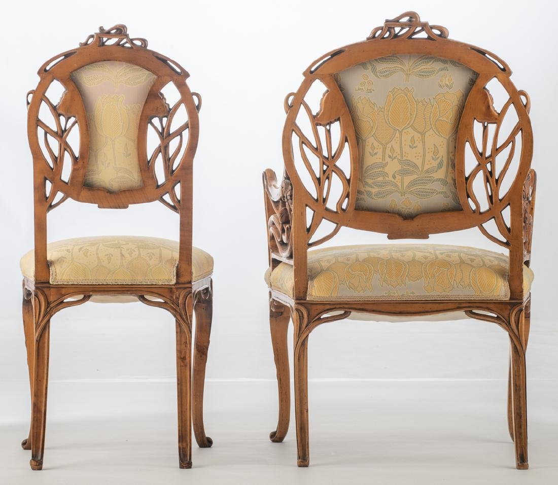 An Art Nouveau style walnut chair and armchair, H 93,5 - 4