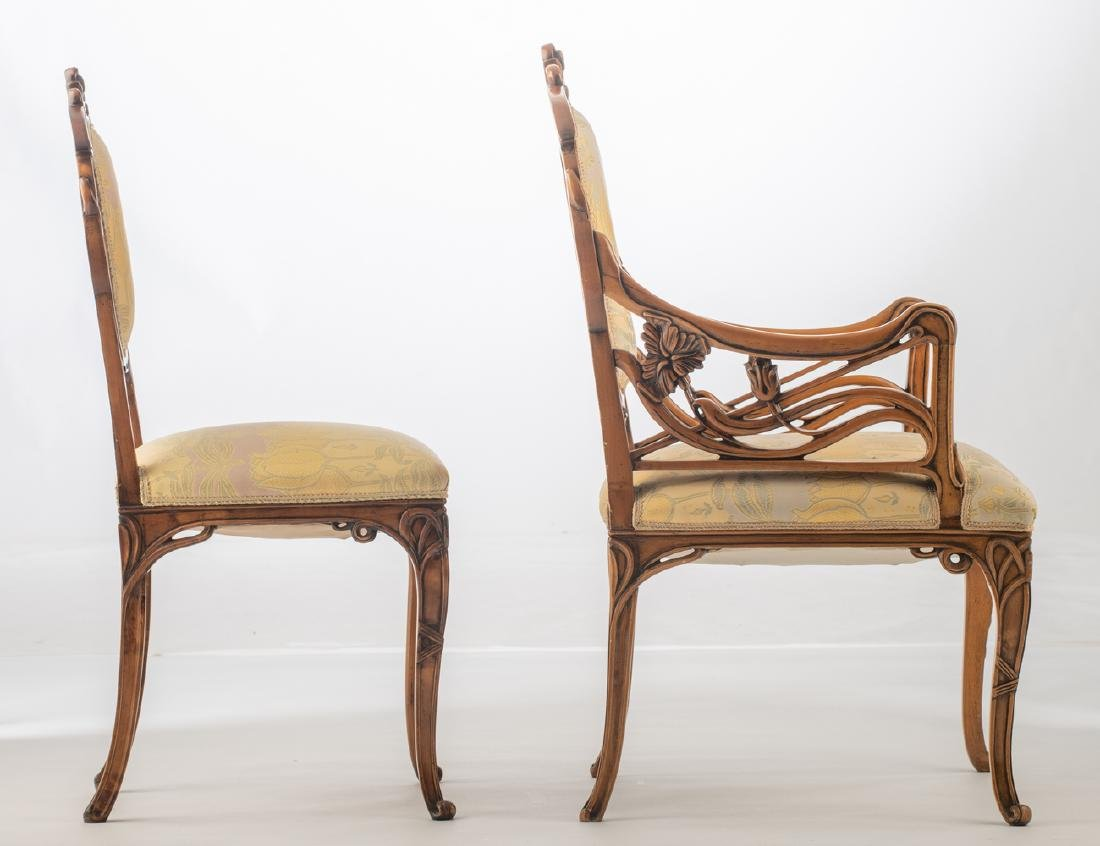 An Art Nouveau style walnut chair and armchair, H 93,5 - 5