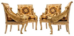Four gilt wooden Russian Biedermeier armchairs in the