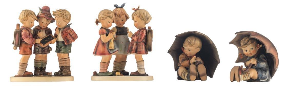 The Goebel and Hummel umbrella boy and umbrella girl;