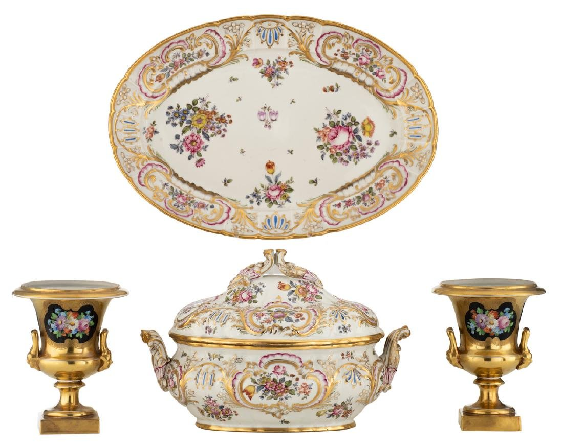 A 20thC Saxon Rococo revival gilt and floral polychrome