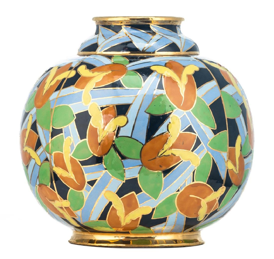 Apolychrome enamelled and gilt decorated Art Deco