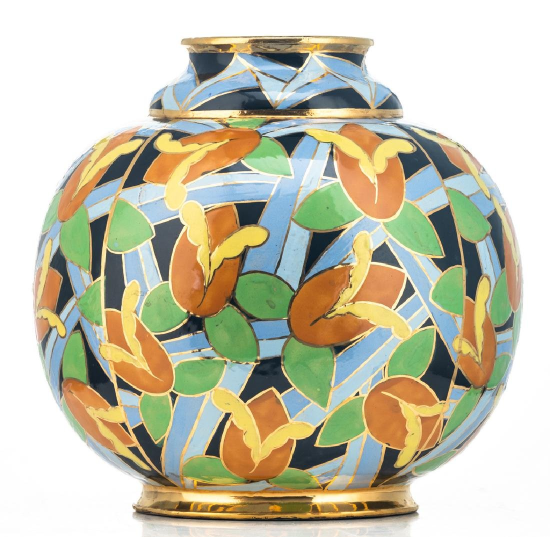 A polychrome enamelled and gilt decorated Art Deco - 2