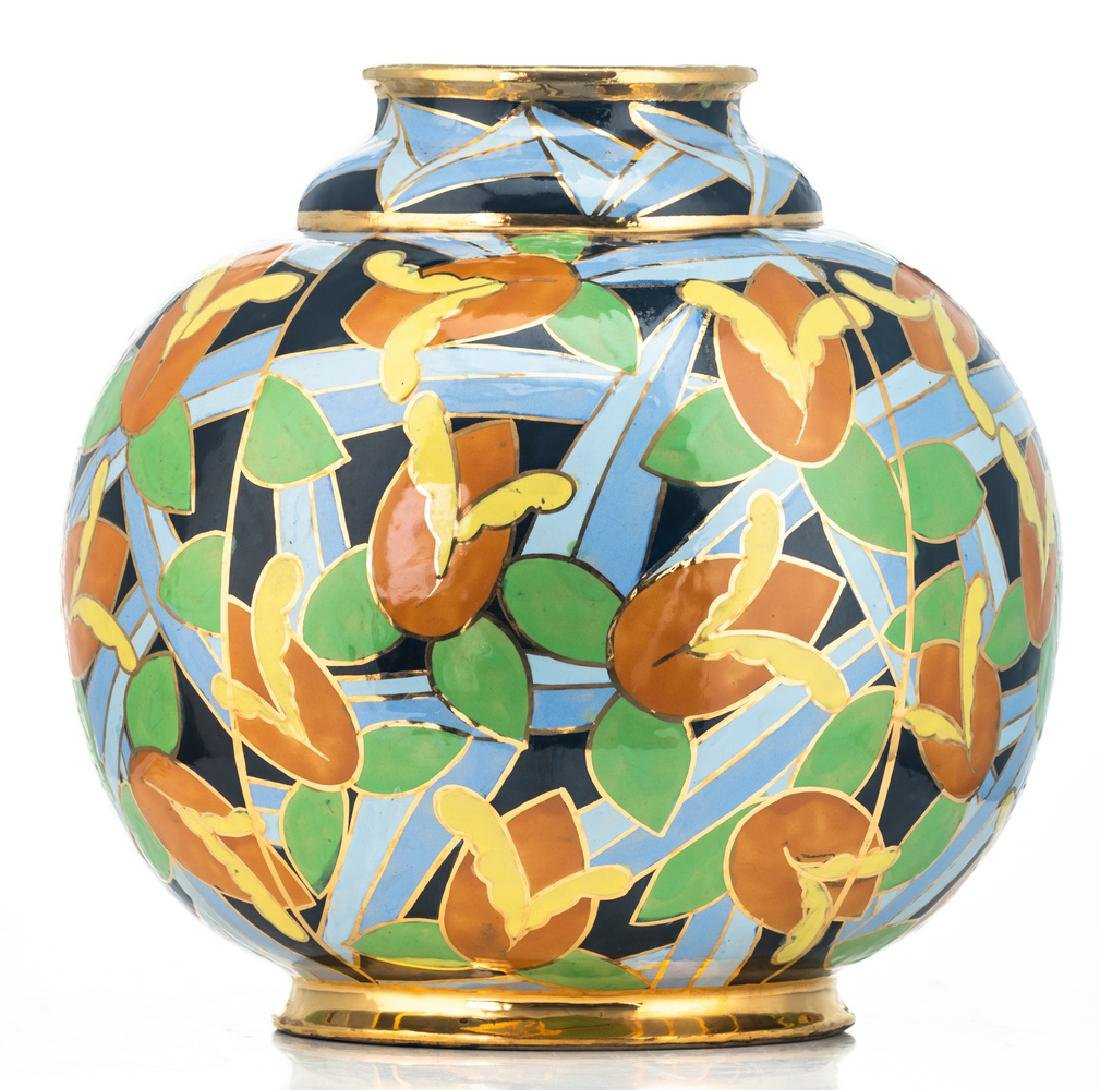Apolychrome enamelled and gilt decorated Art Deco - 3