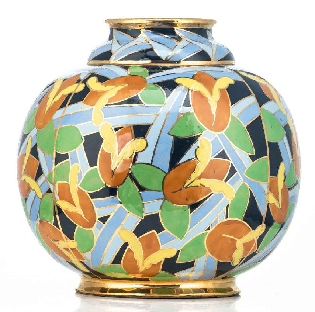 A polychrome enamelled and gilt decorated Art Deco - 4