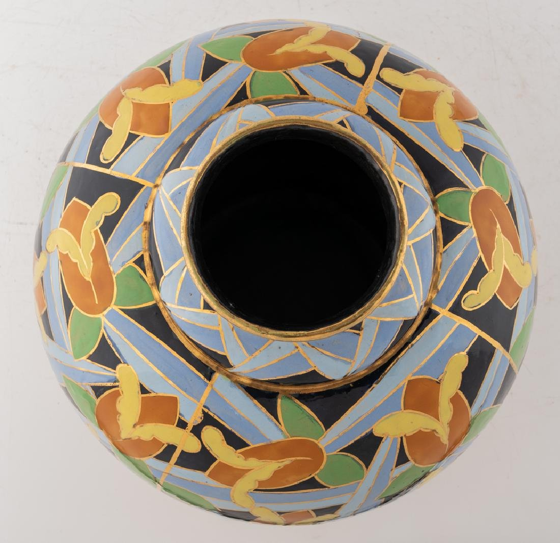 Apolychrome enamelled and gilt decorated Art Deco - 5